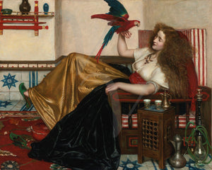 Painting of a woman with a parrot in an exotic setting. Fine art print