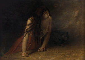 The Witch. Antique painting. Woman with Black Cat. Dark Art. Fine art print