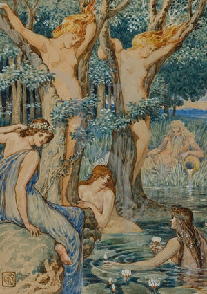 Nyads and Dryads by Walter Crane. Woodland Nymphs and Water Sprites. Sirens. Fine art print