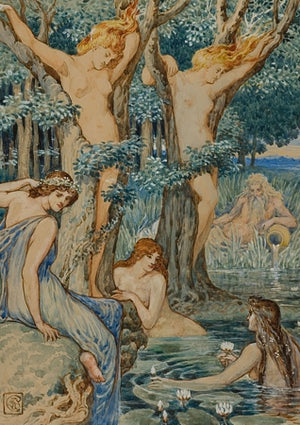 Nyads and Dryads. Painting by Walter Crane. Nature spirits. Mythology. Fine art print