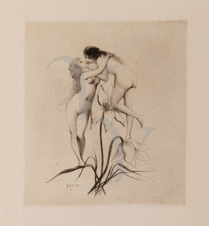 Le Baiser (The Kiss) by Joseph Apoux. Two women kissing on a flower. Lesbians. Female erotica