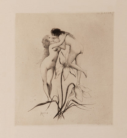 Le Baiser by Joseph Apoux. Two women kissing on a flower. Lesbian fine art print