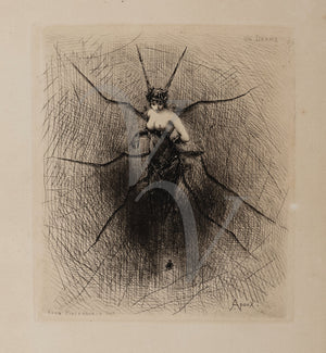 Gothic Victorian spider woman by Joseph Apoux. Fine art print