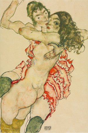 Egon Schiele artwork of two female nudes embracing.