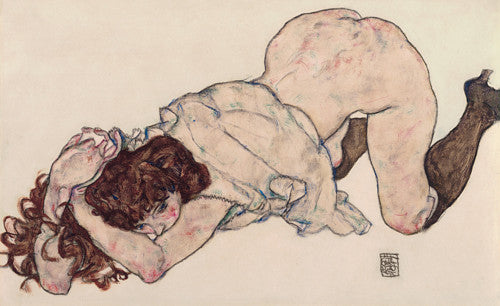 Kneeling Girl by Egon Schiele. Erotic nude artwork. Fine art print
