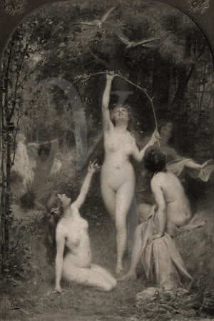 Pagan female forest nudes. Nature Goddess. Fine art Print