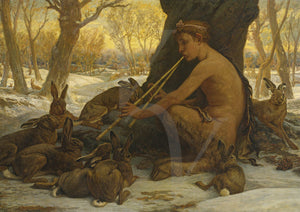 Painting of the young Satyr Marsyas Enchanting the Hares by Elihu Vedder