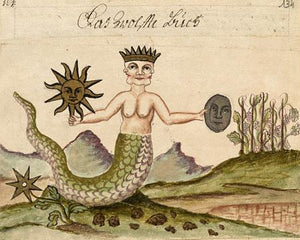 Antique Alchemy Manuscript. Sun and Moon. Fine Art Print