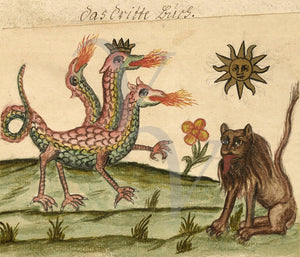 Three Headed Dragon and Lion. Antique Alchemy. Fine art print