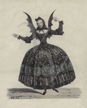 Bat lady. Antique French theater costume illustration- Fine art print