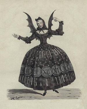 Bat Woman. Antique French theatre costume. Fine Art Print