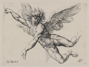 Angel etching. Winged male. Icarus. Fine art print