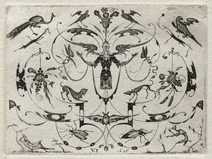 German ornamental antique engraving of birds, insects and animals. Fine art print