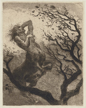 The Suffering of Chiron. Centaur engraving. Fine art print