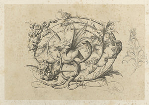 Griffin Grotesque. Antique Nature Oddities Engraving. Fine Art Print