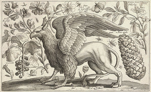Griffin. Mythical creature with plants and flowers engraving. Gryphon. Fine art print