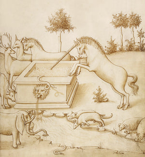 Mythical scene with a unicorn and various animals. Antique illustration. Fine art print