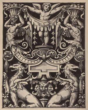 Griffins and Cupid. Antique ornamental grotesque engraving. Fine art print