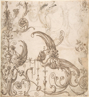 Winged Creatures and Curios. Antique Spanish ornamental artwork. Fine Art Print