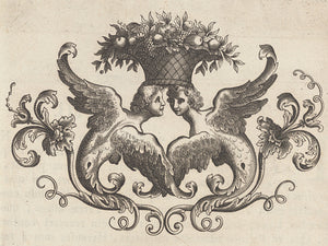 Italian decorative engraving of two winged creatures. Cupids. Fine art print