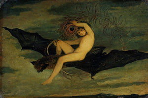 Ariel riding a bat from Shakespeare's The Tempest. Fine art print