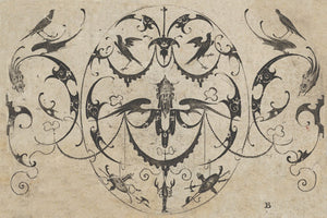 Antique decorative grotesque engraving with birds. Fine art print