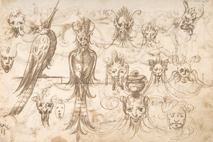 Antique Spanish grotesque drawings of masks and strange birds. Fine art print