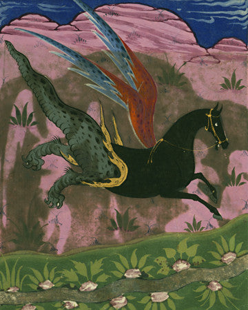 Persian painting of a mythical winged horse. Fine art print