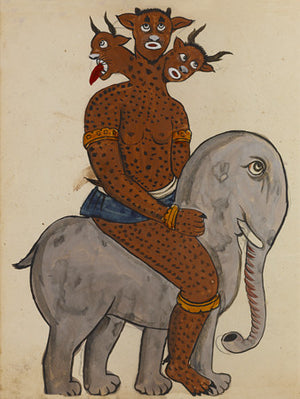 Painting of a three-headed demon riding an elephant, from a Persian manuscript on magic, spells, and astrology. Fine art print