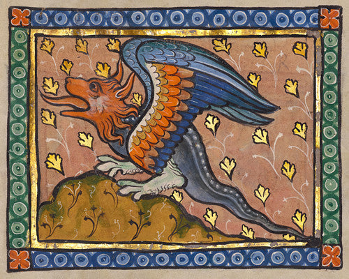 Medieval illuminated manuscript painting of a dragon. Fine art print