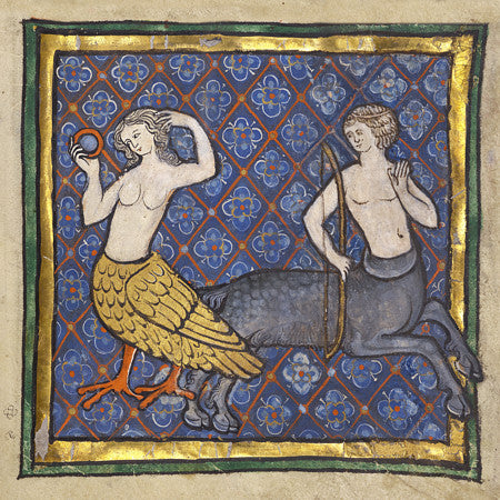 lluminated manuscript painting of a siren and a centaur. Fine art print