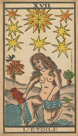 L'Etoile  (The Star). Illustration from an antique French tarot card. Fine art print