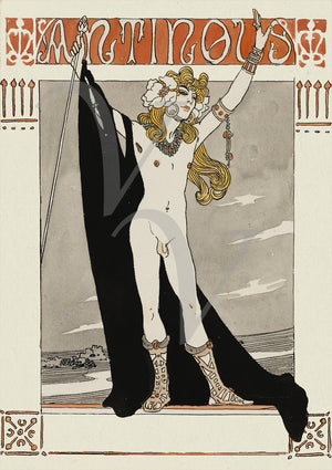 Antinous by Georges Barbier. Lover of Hadrian. Homoerotic. Fine Art Print