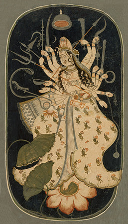 Painting of the Great Goddess Mahadevi.  Rajasthan, India. Hindu fine art print