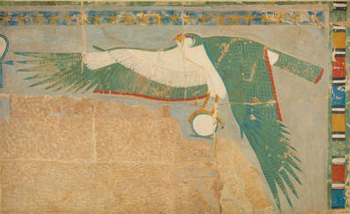 A facsimile painting of a falcon protecting the king, from Hatshepsut's Temple, Thebes, Egypt. Fine art print