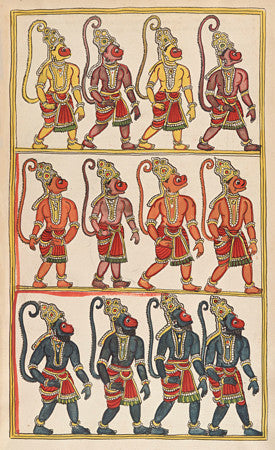 Sugriva's Monkey Army, from the Ramayana,who help Rama and Lakshmana liberate Sita.  Fine art print