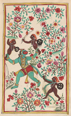 Hanuman in Ravana's Garden. Indian painting from Rāmāyana. Hindu. Fine art print