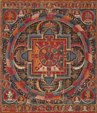 Tibetan painting of a twenty-three Deity Nairatmya Mandala. Buddhist Deities. Fine art print
