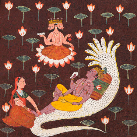 Indian painting of Vishnu laying on Ananta, the endless serpent, Antique Hindu artwork. Fine art print
