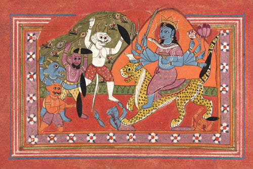 Indian painting of a ten-armed Devi, possibly Durga, slaying demons