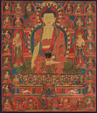 Shakyamuni Buddha. Tibetan Thangka painting depicting Buddha at the moment of his enlightenment.