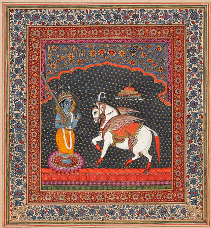 Kalki, white horse Avatar of Lord Vishnu. Indian Hindu painting. Fine art print