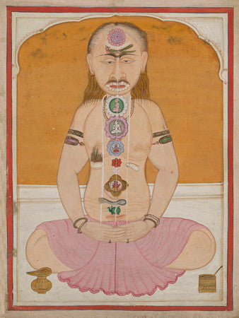 Indian Tantric painting of a cross-legged meditating figure illustrating the chakras and kundalini. Fine art print