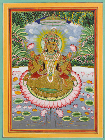 Indian painting of Hindu Goddess Lakshmi sitting on a lotus flower. Fine art print