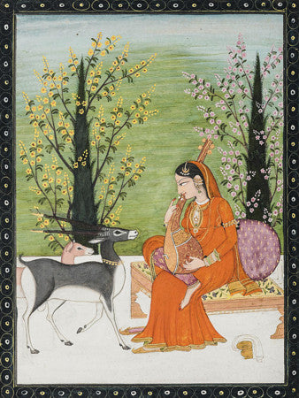 Todi Ragini. Indian Ragamala painting, Kangra, India. Fine art print