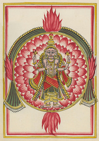 Vishnu in the aspect of Sudarshana. Indian painting. Fine art print