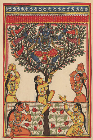 The child Krishna take the clothes of the bathing Gopis and hides in a tree, Indian painting. Fine art print