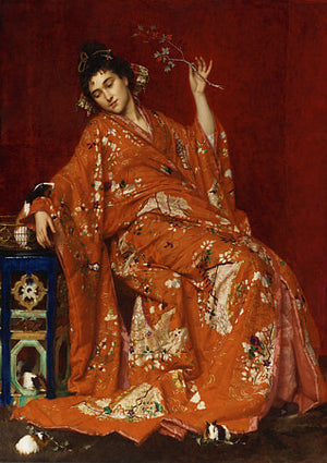 Painting of a woman in exotic dress and setting. Japanese style, Fine art print