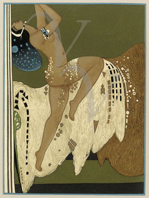 Salome. Exotic Art Deco illustration from Oscar Wilde book. Fine art print