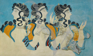 Ladies in Blue. Ancient Minoan Fresco. Fine Art Print